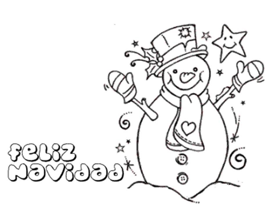 feliz Navideno con olaf muneco de nieve para colorear dibujar ...