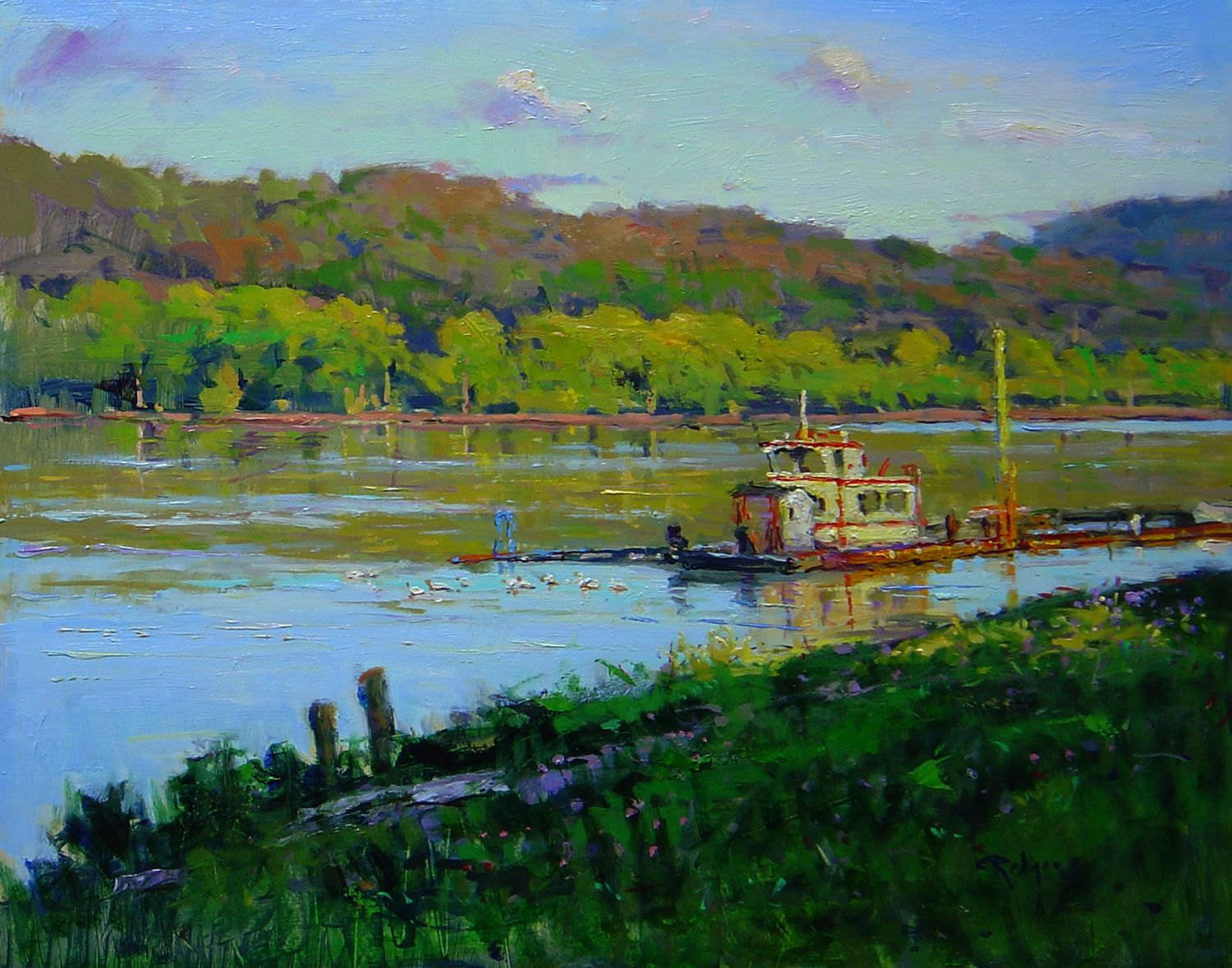 Quiet Morning On The Ohio River 16x20 Oil Painting By Jim
