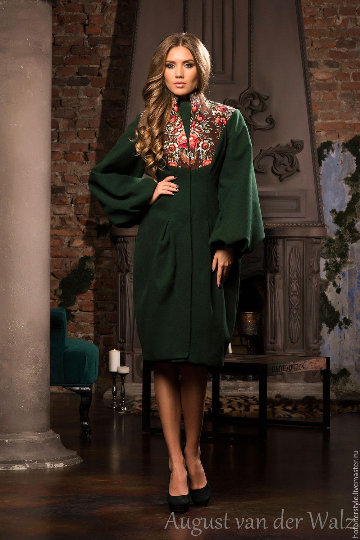Купить Пальто в Русском стиле - Дизайнерское пальто Аля-Русс - цветочный af391469e7fa1