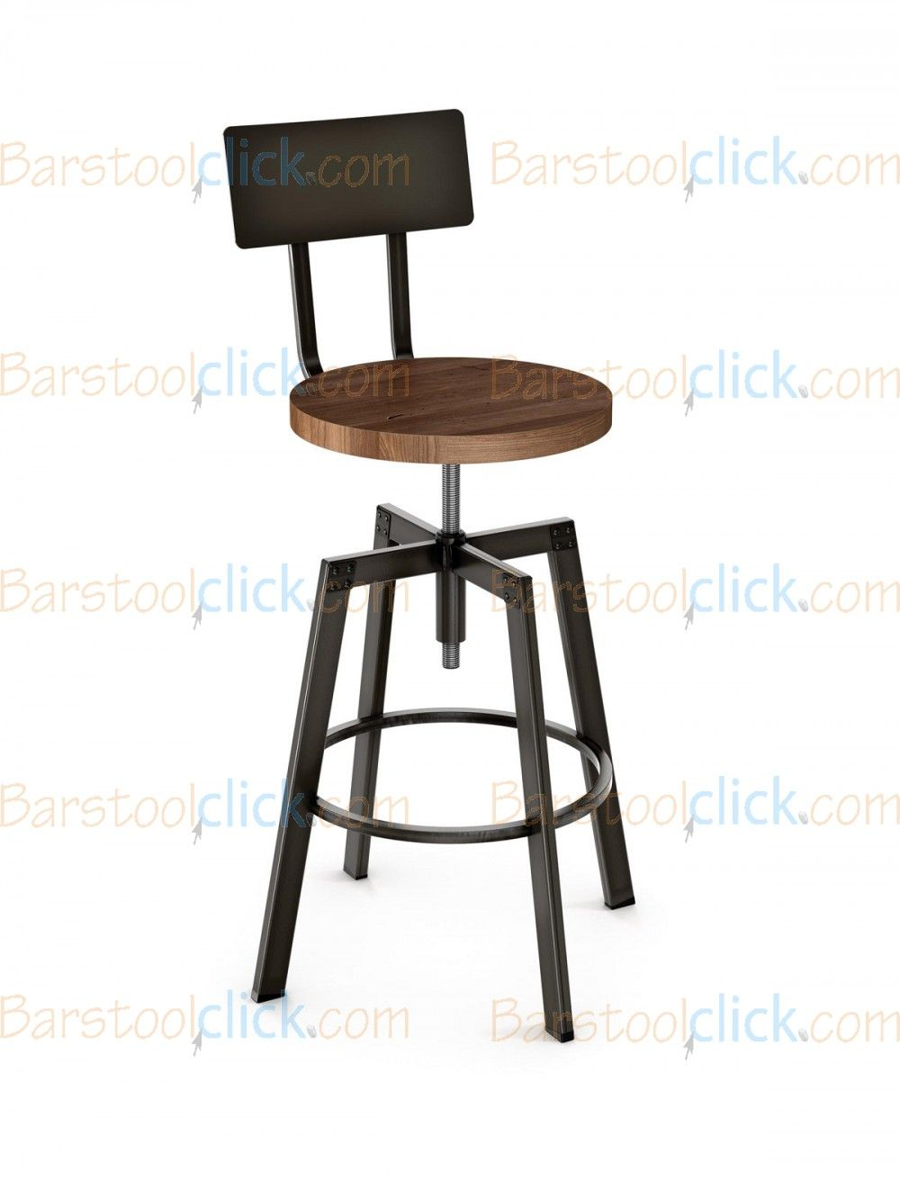 Amisco architect screw adjustable height swivel bar stool with distressed wood seat and metal backrest 40563