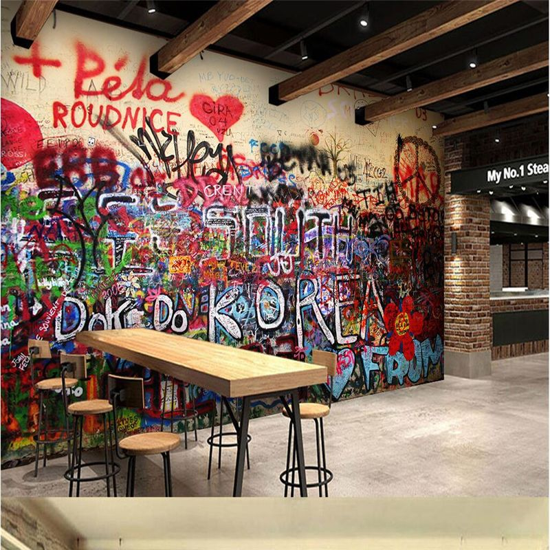 Beibehang 3D custom wallpaper abstract color alphabet pattern brother graffiti home decoration sofa living room 3D wallpaper