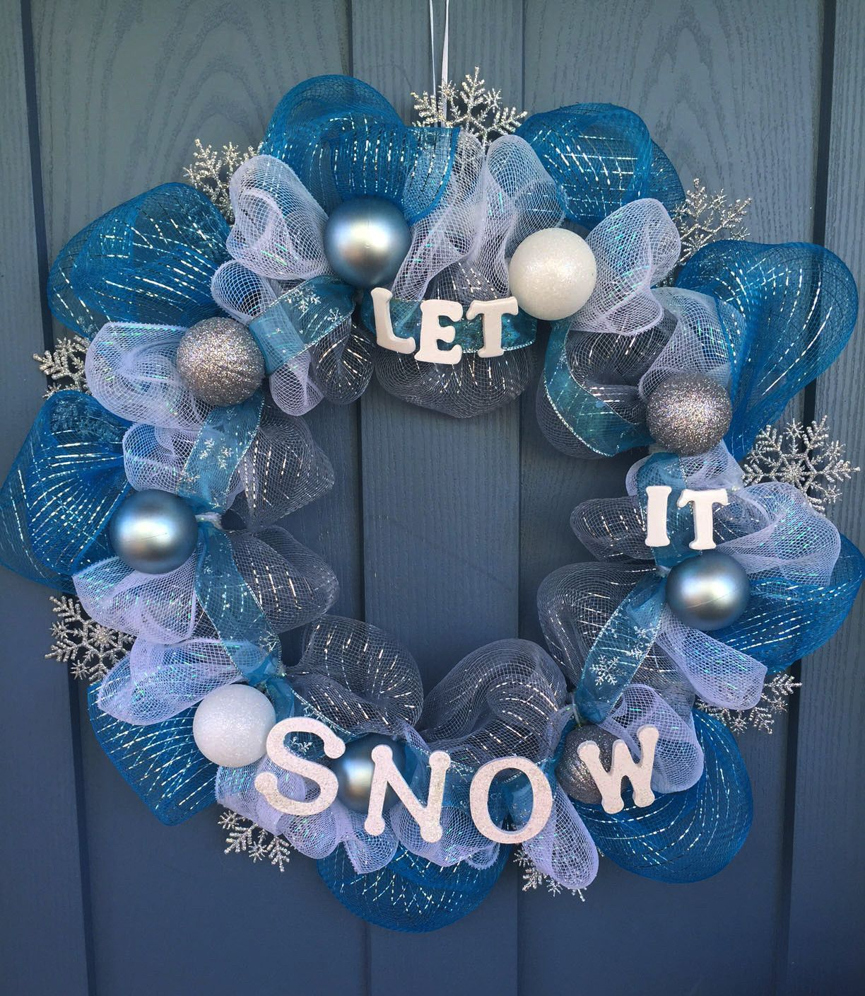 Wire Wreath Frame Covered With Silver Blue And White