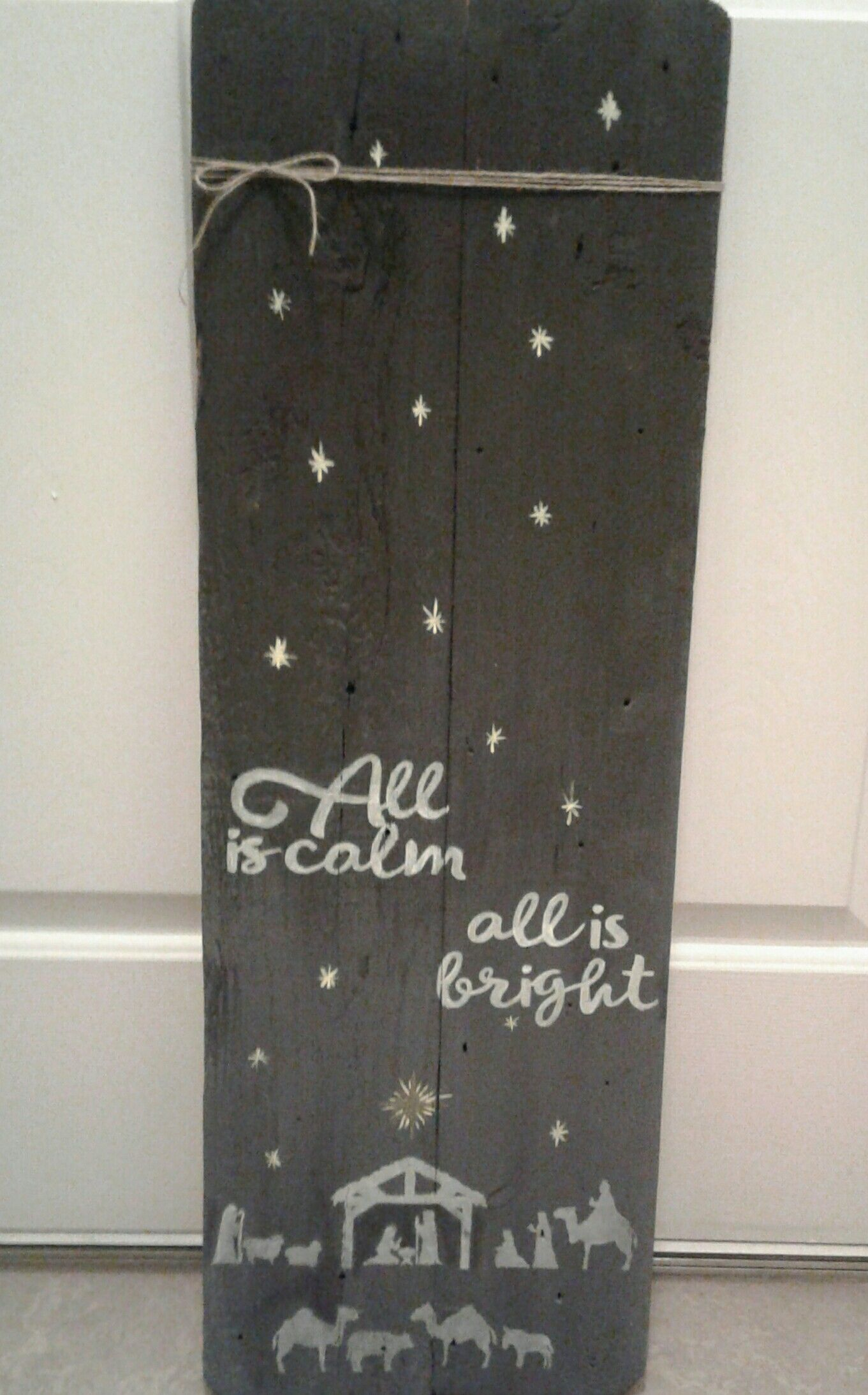 All is Calm All is Bright out of reclaimed wood.