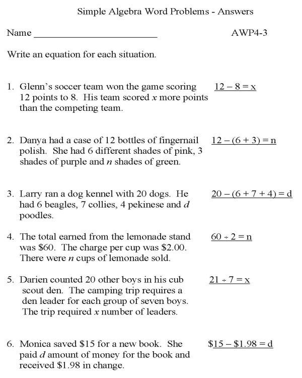 Equation Word Problems Worksheet With Answers - Tessshebaylo