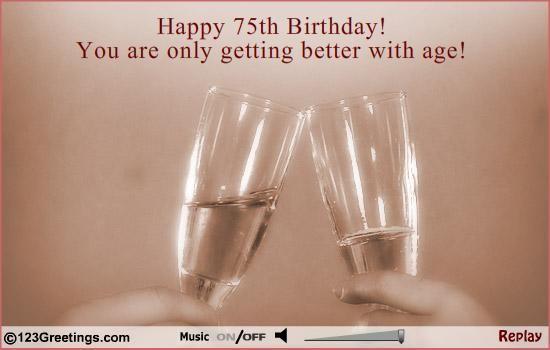 Happy 75th Birthday Musical Ecard