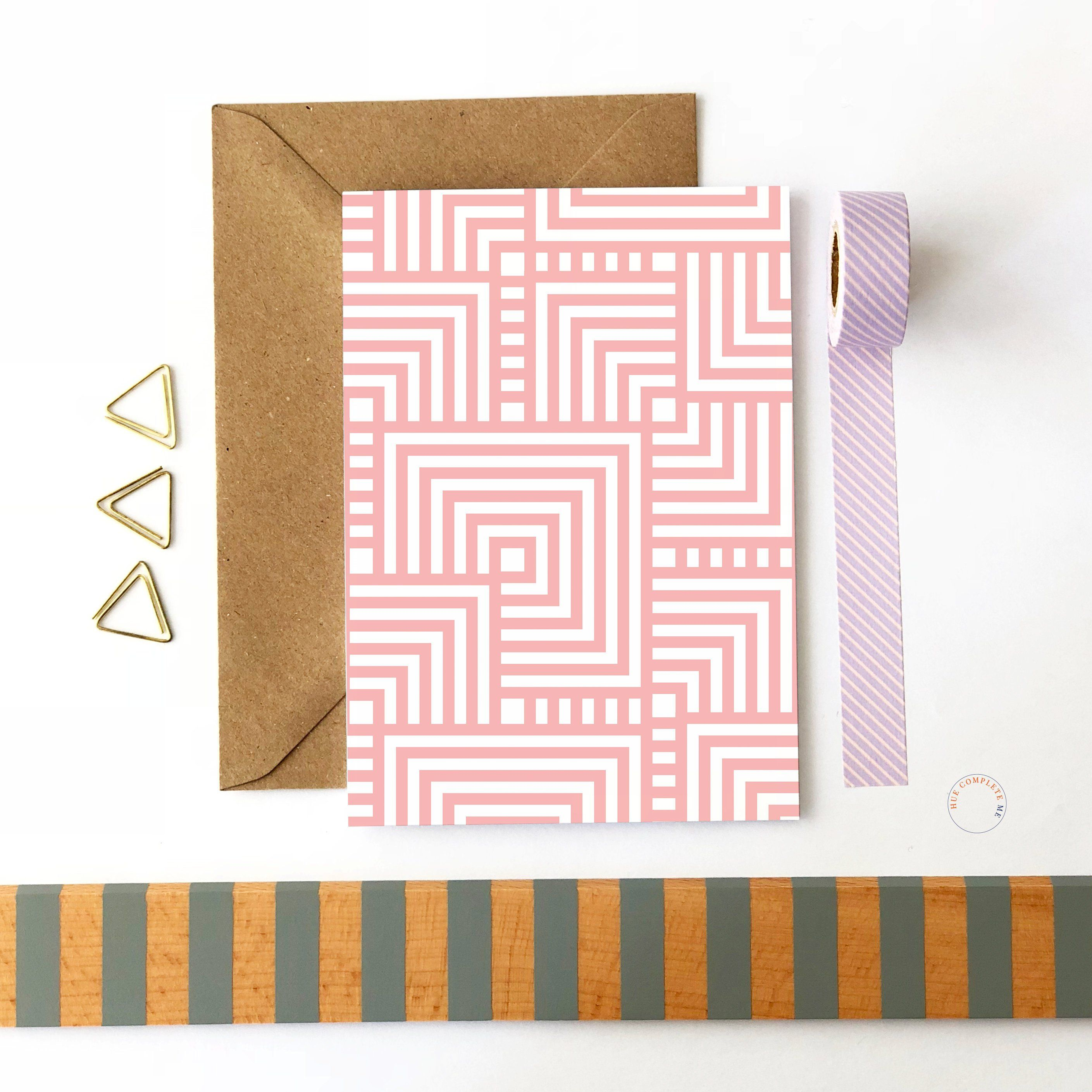 Blank Card Pink Pattern Card Geometric Card Pink Card Note Card