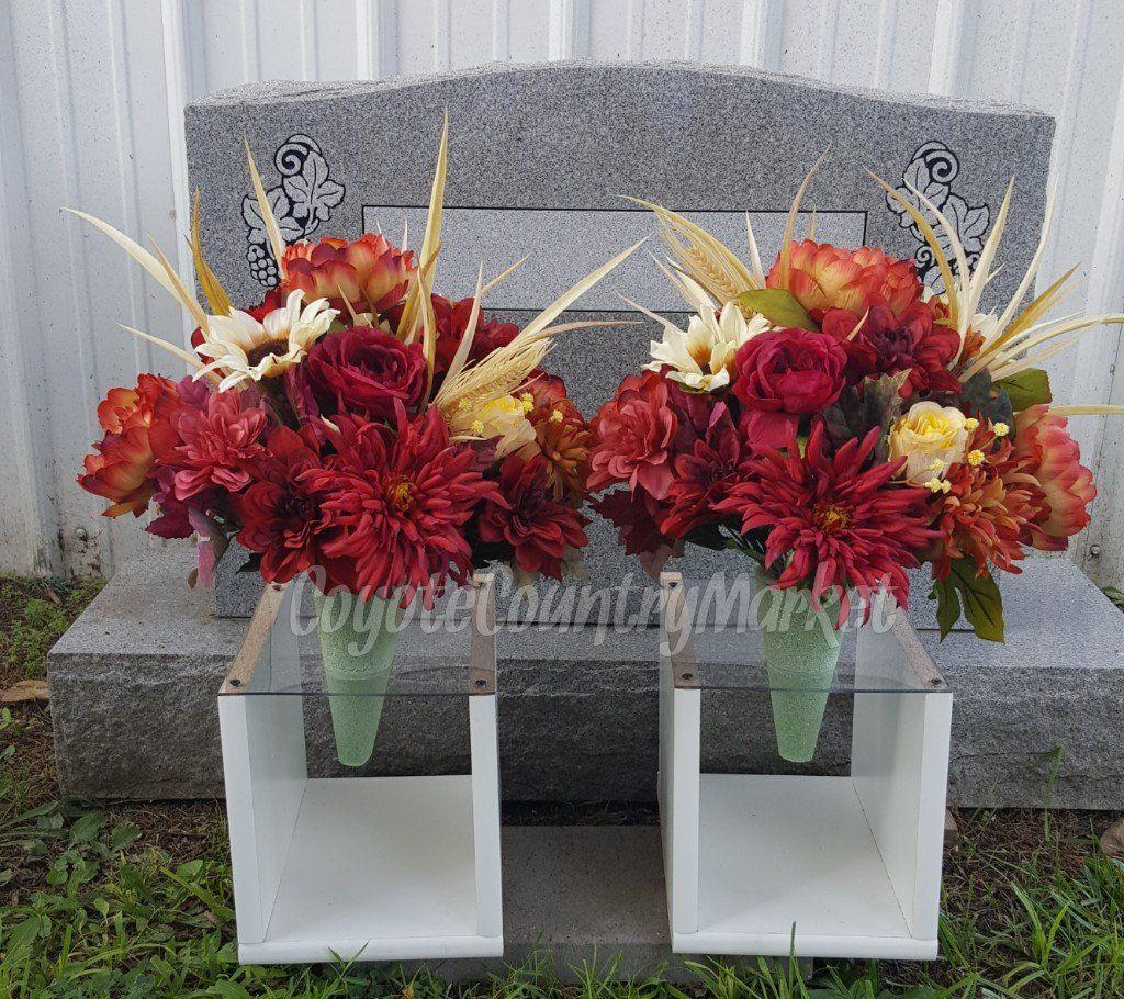 Fall Cemetery Vases-Flowers For Grave-Vase Grave Flowers-Fall Cemetery Flowers-Cemetery Decorations-Cemetery Arrangement-Fall Grave Vases by ... & Fall Cemetery Vases-Flowers For Grave-Vase Grave Flowers-Fall ...