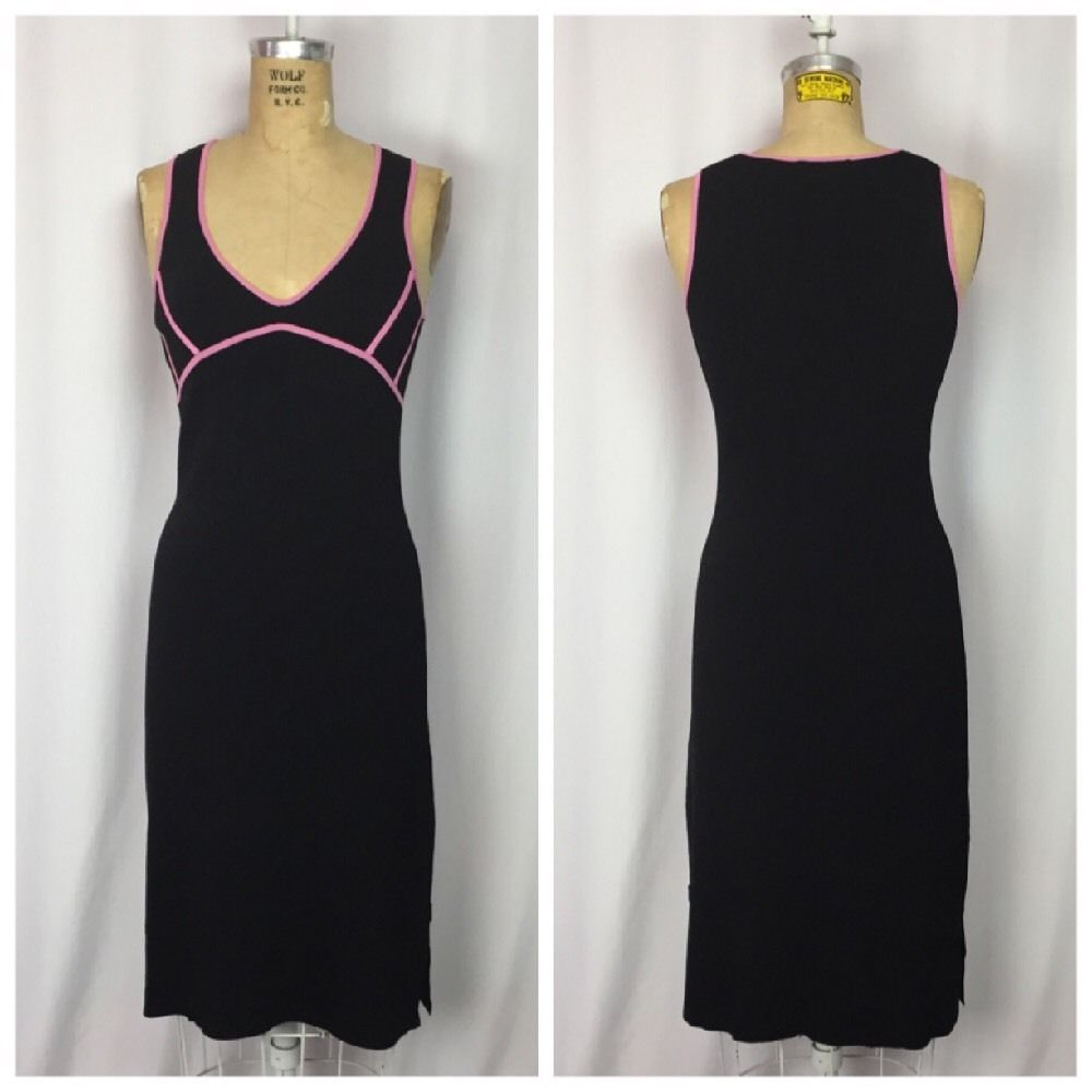 BCBG Max Azria Black And Pink Stretch Rayon Bodycon Pencil Dress. Size Small #BCBGMaxAzria #StretchBodyconWigglePencil #Clubwear
