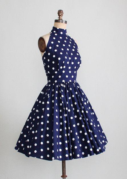 abb5c26f7cb99 Vintage 1950s Inspired 80s Navy Polka Dot Sundress | Clothes ...