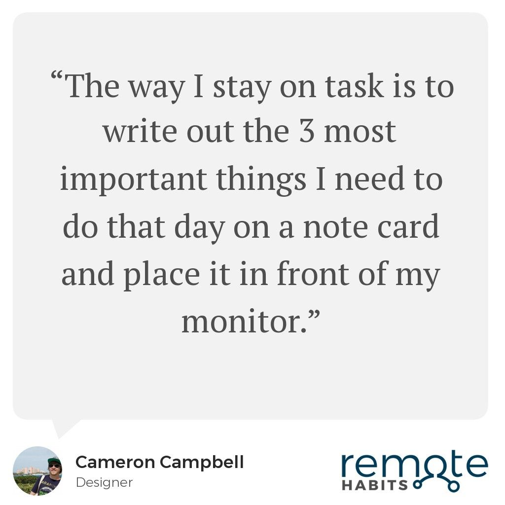 Interview with Cameron, a designer who works remotely at a
