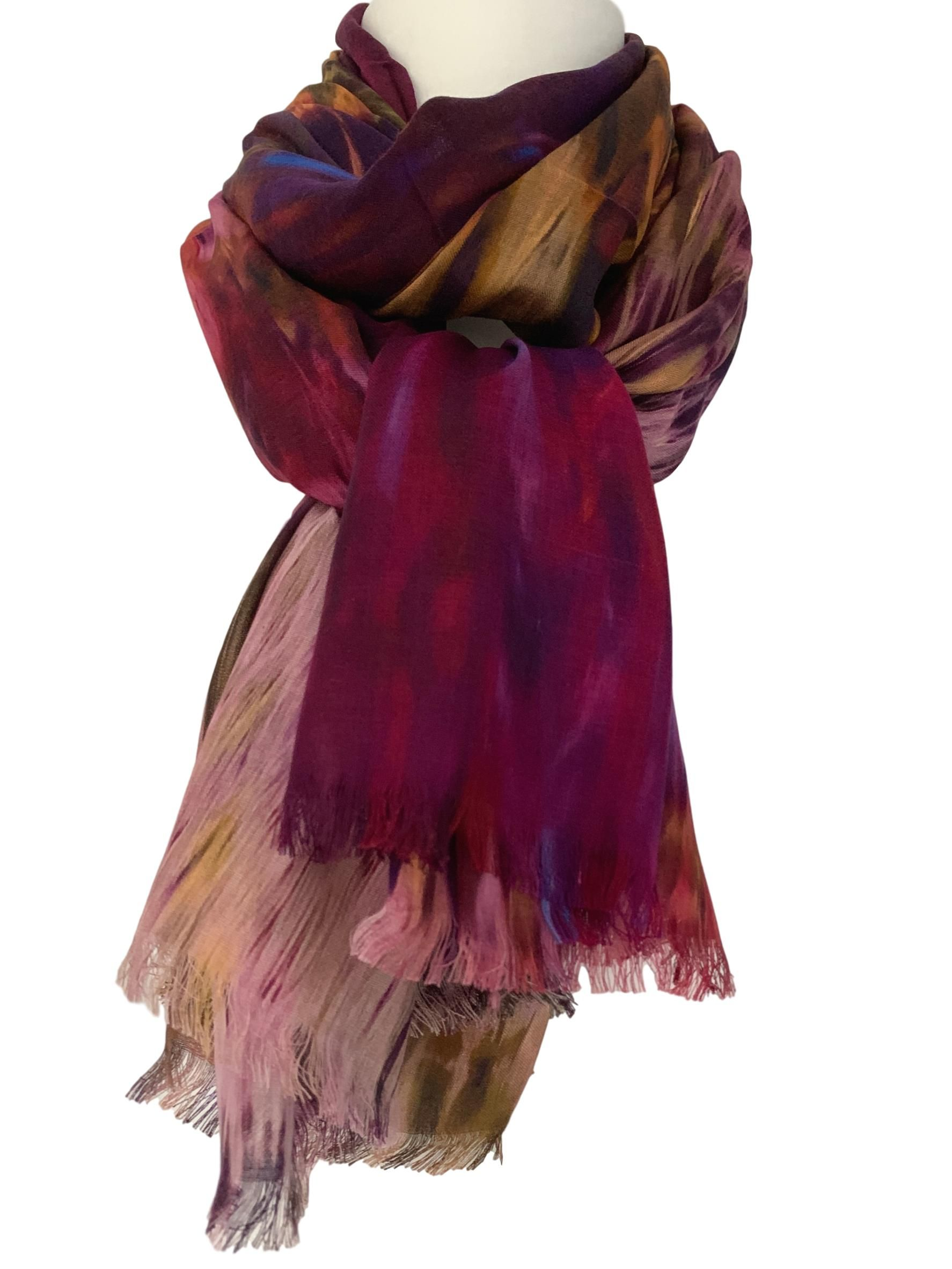 Green Blue Scarf Ladies Cashmere Blend Fair Trade Pashmina Wrap Abstract Shawl