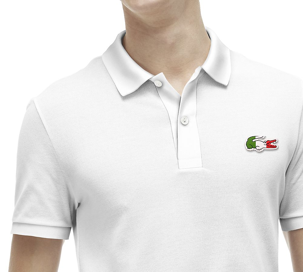 58d700bbe Custom Lacoste slim-fit polo. White with Italy croc.