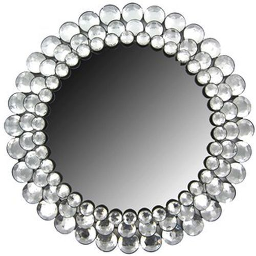 Modern Round Chic Crystal Bling Gemstone Accented Wall Mirror Decor