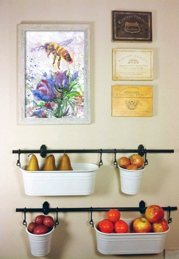 Bee Print Honey Bee Art Abstract Watercolor Flowers Painting Insect Art Bee Gift Watercolour Bee Wall Art Bota Home Decor Diy Kitchen Storage Diy Kitchen