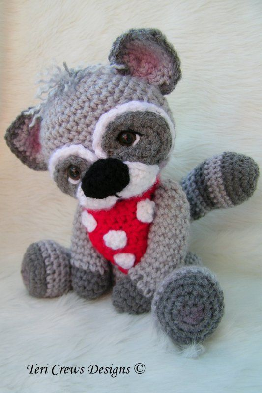 Crochet Pattern Cute Raccoon by Teri Crews Wool and Whims Instant ...