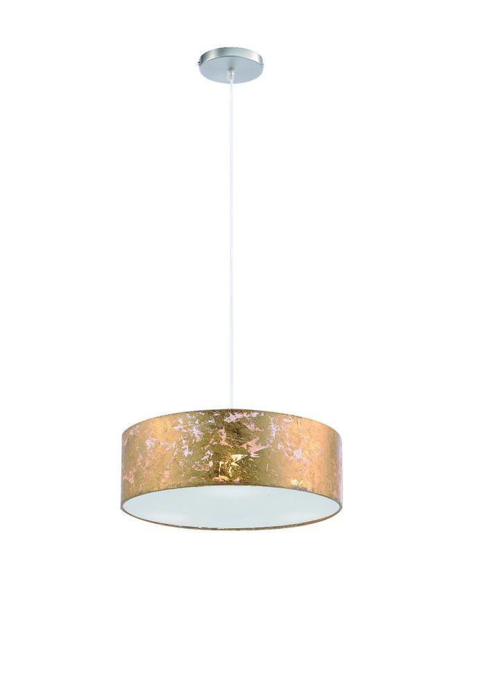Deckenleuchte Deckenlampe Pendelleuchte Pendellampe Goldfarbig 3flg. E14.  KronleuchterBeleuchtungWohnenTrommel PendelleuchtenAnhänger Beleuchtung