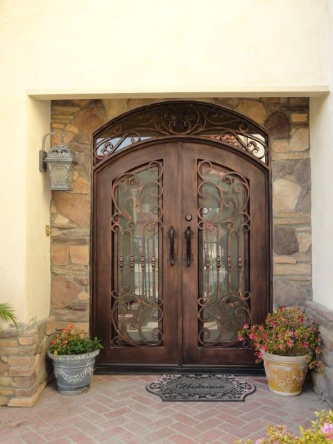 PALERMO DOORS WROUGHT IRON DOUBLE ENTRY DOOR BLACK WITH COPPER