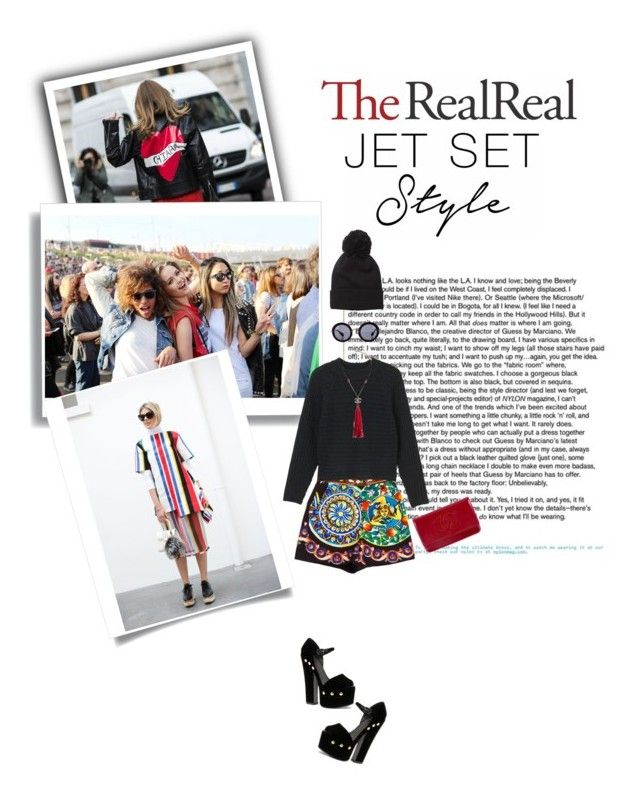 """""""Jet Set Style With DJ Mia Moretti & The RealReal: Contest Entry"""" by tamara-40 ❤ liked on Polyvore featuring Dolce&Gabbana, Miu Miu, Giuseppe Zanotti, Monki and Chanel"""