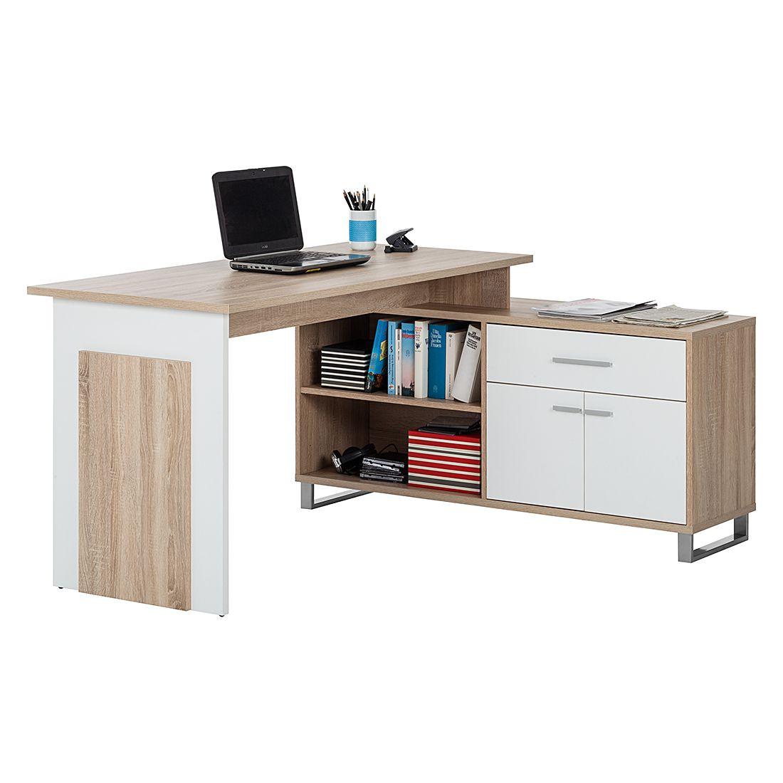 Schreibtisch Maxim Sonoma Eiche Dekor Weiss Home24 Office Jetzt