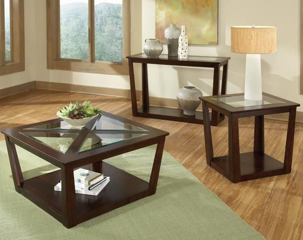 City View Dark Chocolate Wood Glass Coffee Table Set With Images