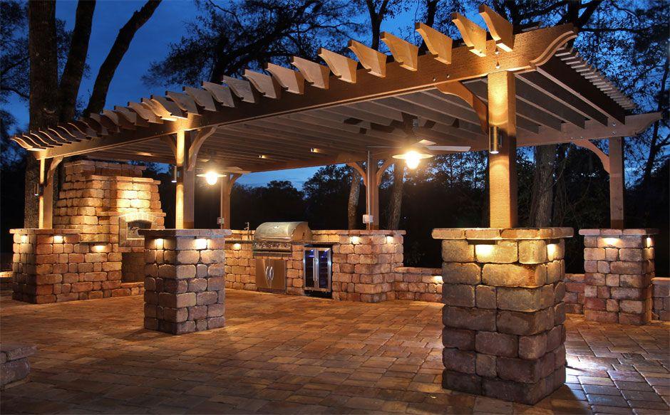 Backyard design ideas and inspiration tremron paver for Pergola lighting ideas