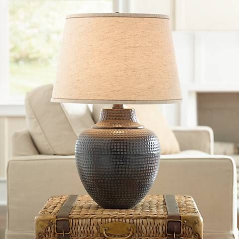 Brighton Hammered Pot Bronze Table Lamp X4785 Lamps Plus
