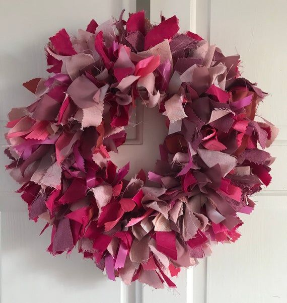 Photo of Wreath for the front door all year round, wreath, pink wreath, rag wreath, door decor, fabric wreaths for fr