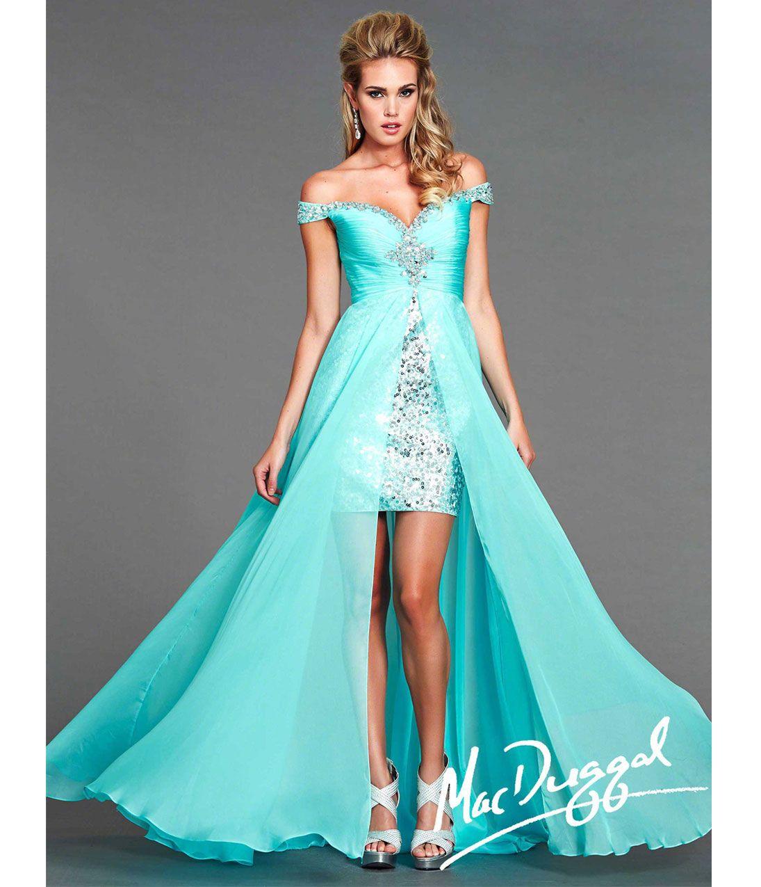 Mac Duggal 2014 Prom Dresses - Sky Blue Sequin Chiffon High-Low ...