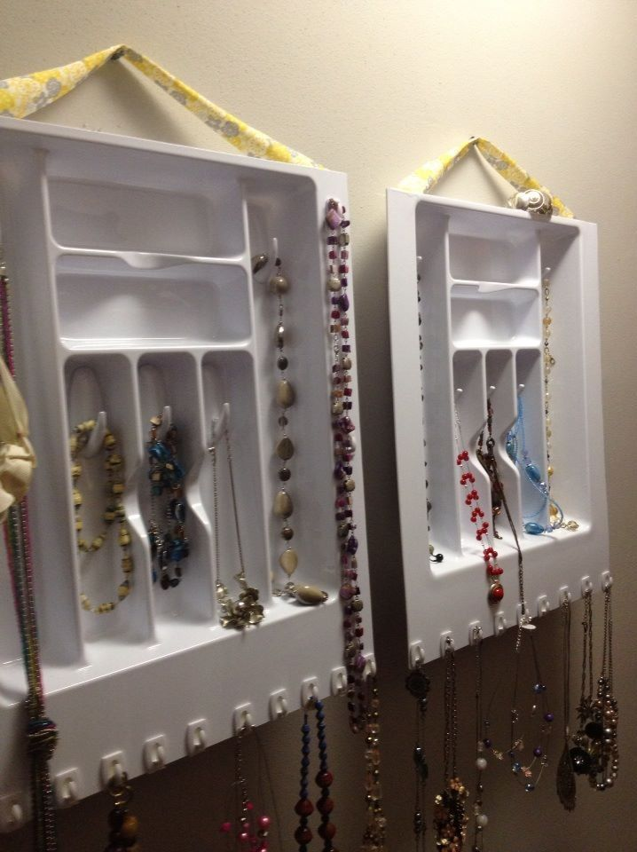 Jewelry organizers made from cutlery trays and 3M hooks