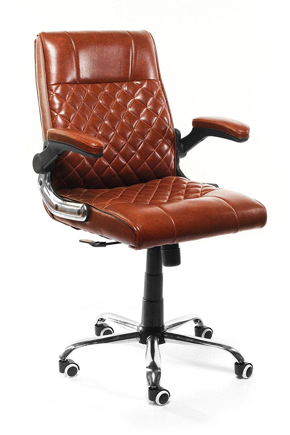 Furniease® Low Back Height And Arm Rest Adjustable Office Executive Chair  In Brown Finish