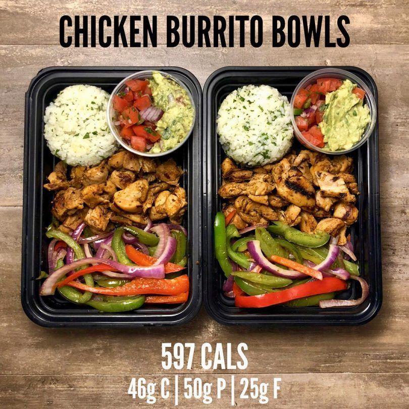 Chicken Burrito Bowls #mealprepplans
