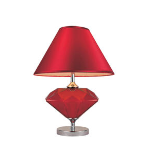 1 Light 22 Ruby Red Colored Glass Diamond Shaped Table Lamp Is A