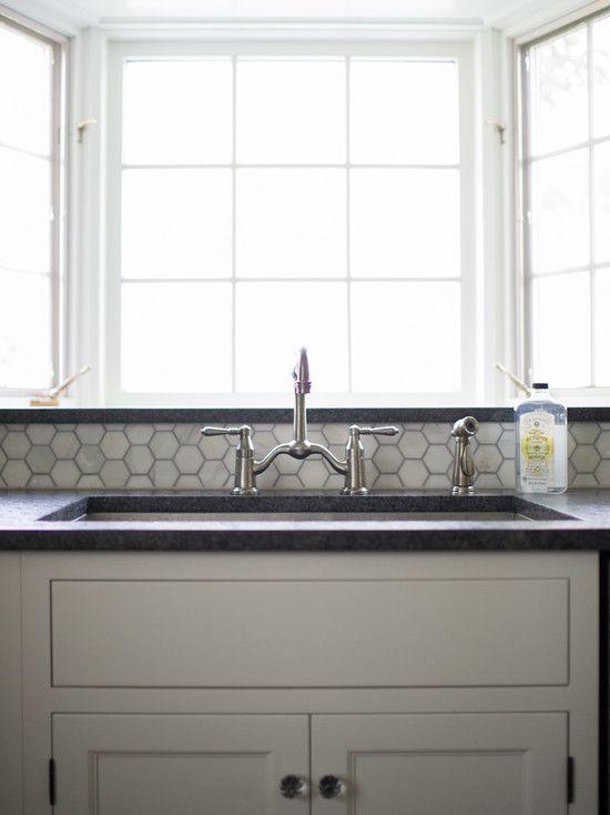Best Hampton Carrera Marble Hex Tiles Transitional Kitchen 640 x 480