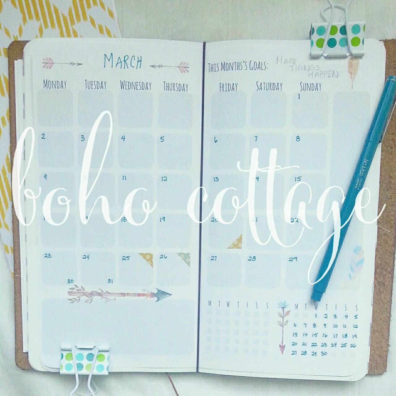 Boho Month On 2 Pages Widecahier Size Planner Insert Printable