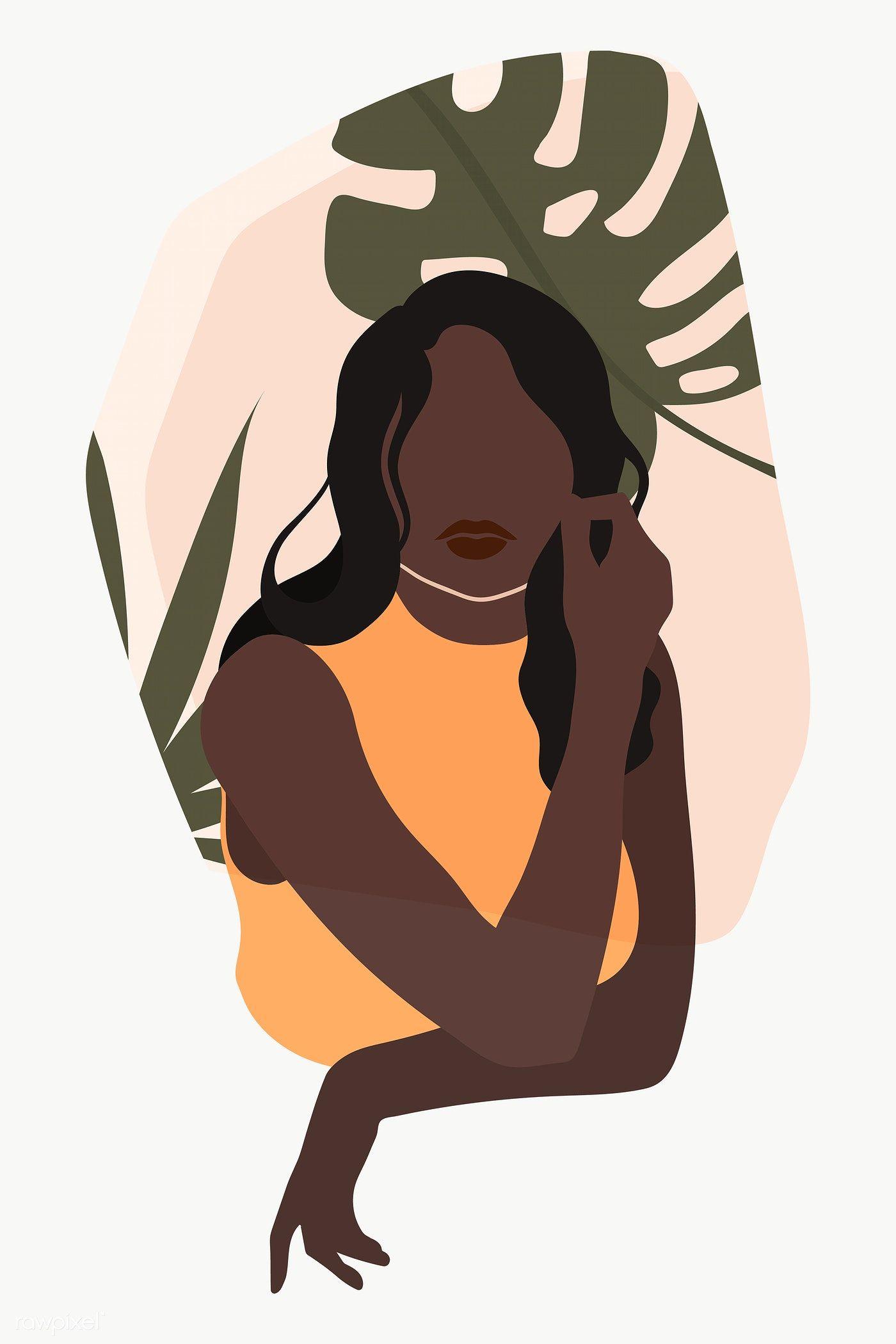 Black Woman With A Monstera Leaf Transparent Png Premium Image By Rawpixel Com Manotang Illustration Art Girl Illustration Art Art