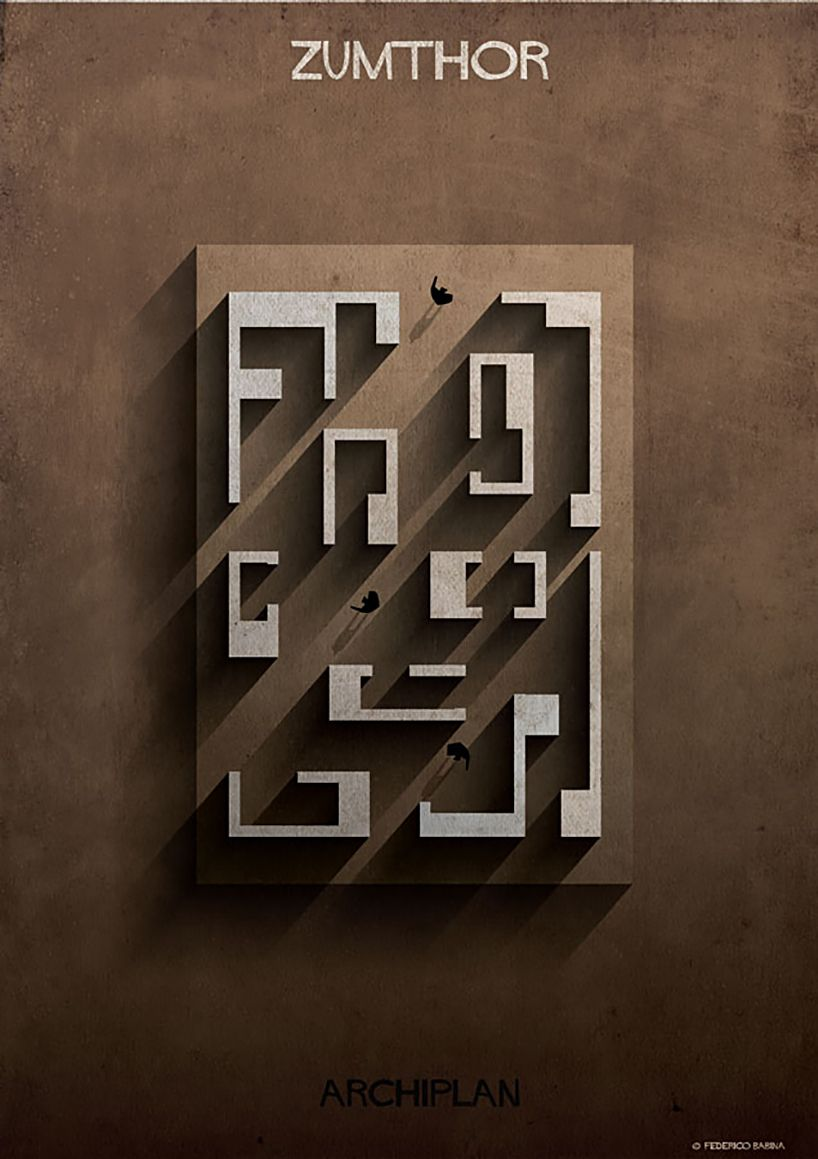 federico babina dissects famous floor plans as architectural labyrinths (Brilliant) Peter Zumthor