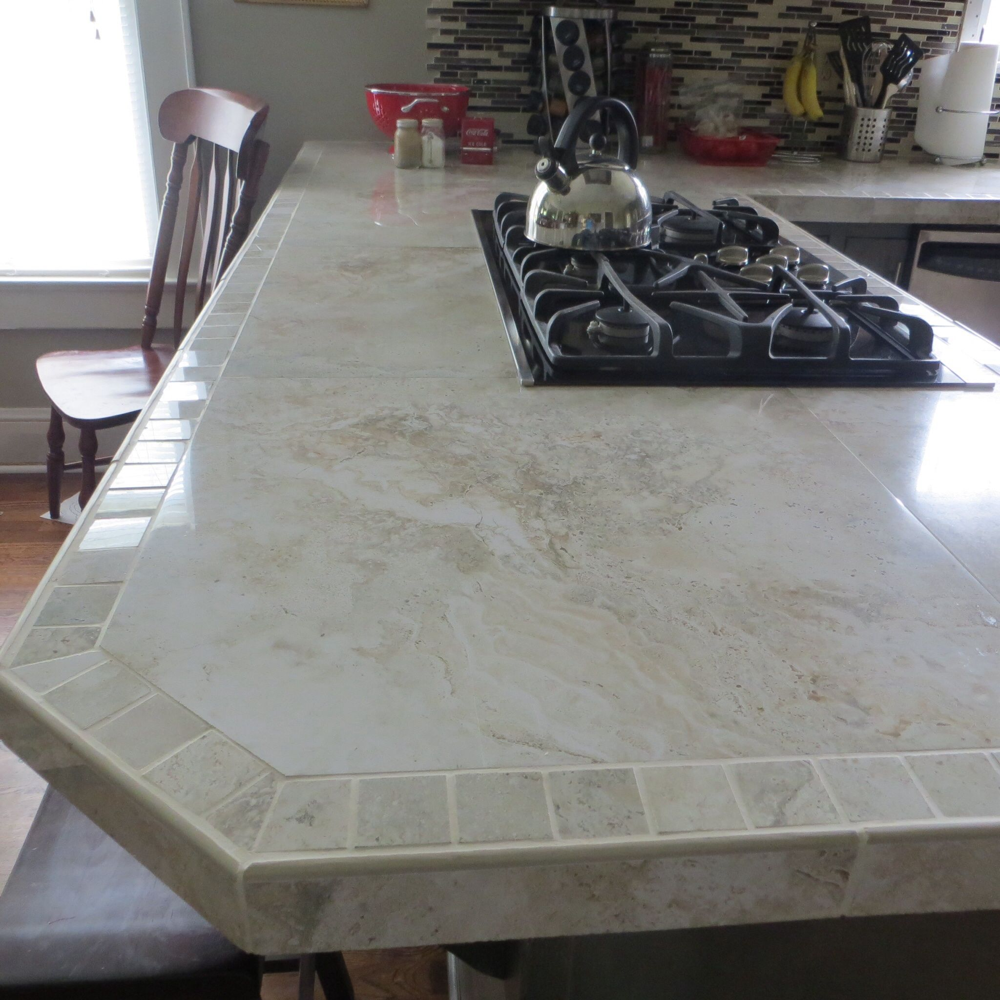 Diy Tile Countertop Removal: I Used 24x24 Inch Polished Porcelain Tiles For The