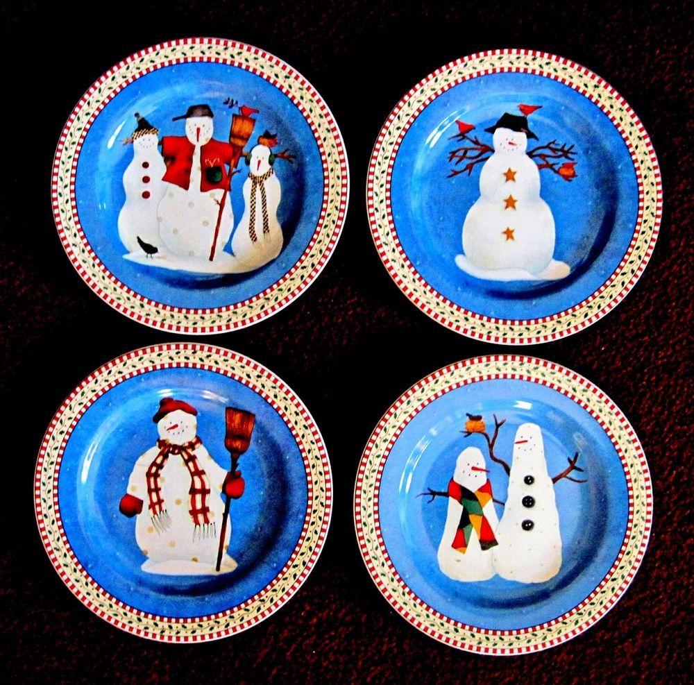 NEW Set of 4 Sakura Snowman 8\  Salad Dessert Plates Debbie Mumm CHRISTMAS #DebbieMummSakura  sc 1 st  Pinterest & NEW Set of 4 Sakura Snowman 8\