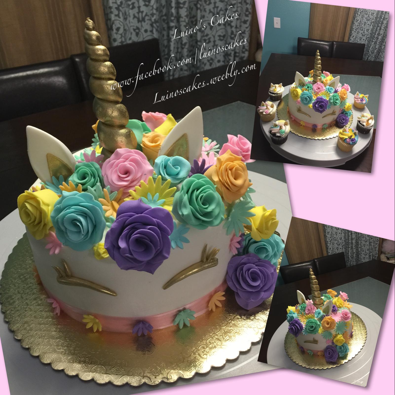 Unicorn Cake With Fondant Flowers Cakes Pinterest Cake