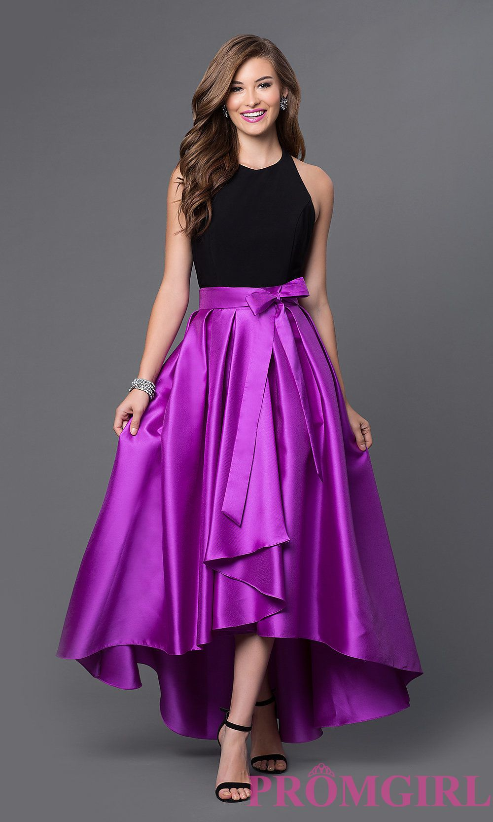 Image of two tone high neck high low dress Front Image   ref ...