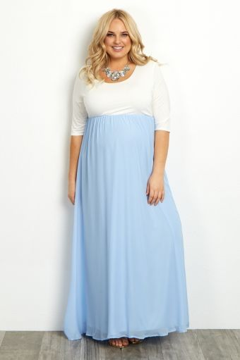 94a7cc54184 Light Blue Chiffon Colorblock Plus Size Maternity Maxi Dress ...
