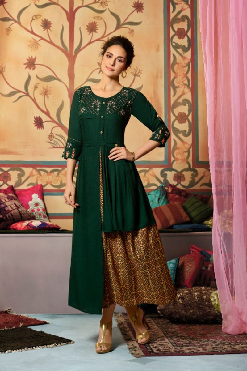 83a4a51c42 Wholesale Party Wear Kurtis | Pack Of 6 Embroidered Party Ethnic Wear  Designer Rayon Slub Long