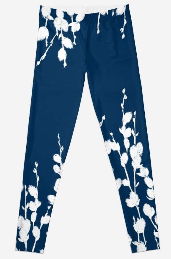 Pussywillow Sprigs — Blue | Leggings in 2019 | L Diane Johnson