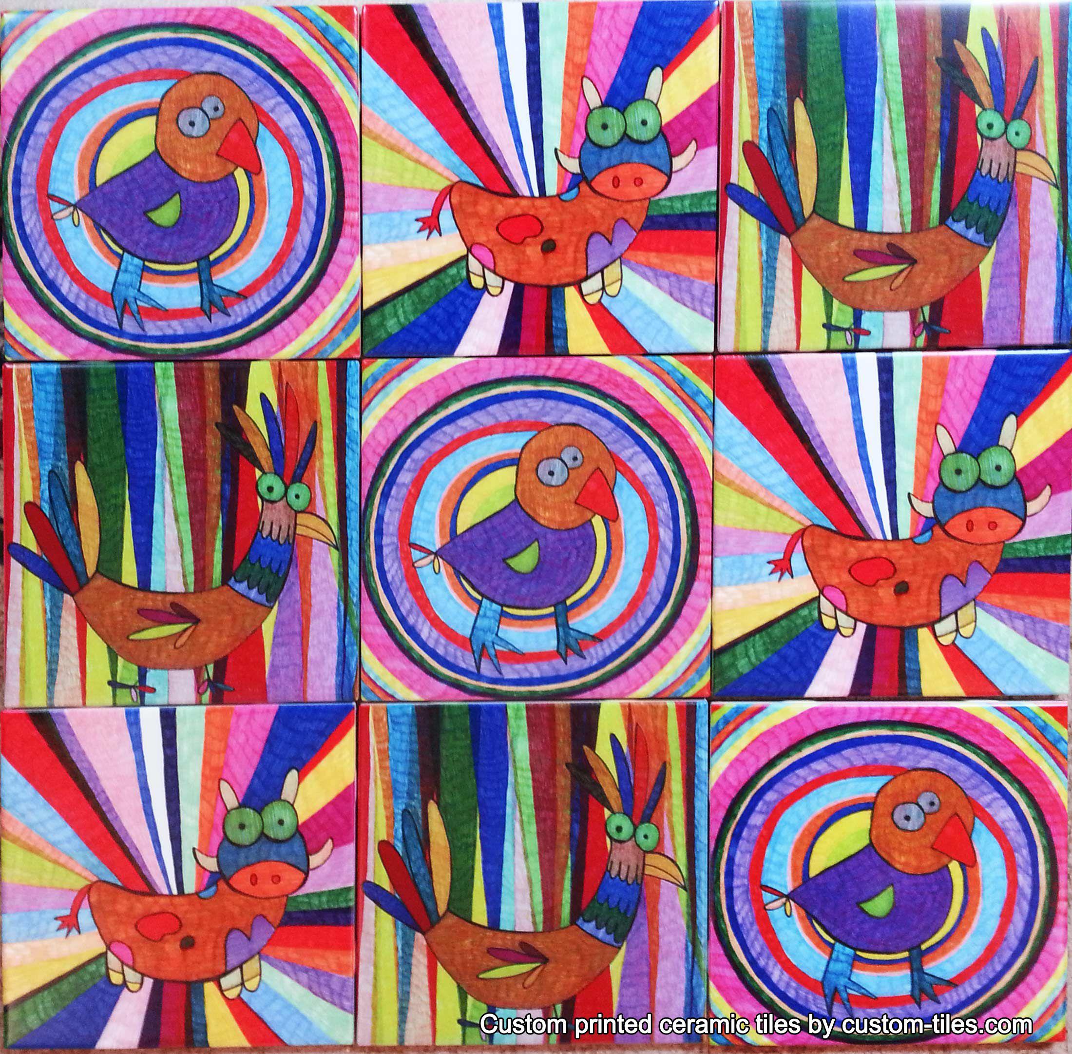 Artistic sketches colorful farm animals custom printed on artistic sketches colorful farm animals custom printed on ceramic tile for wall murals dailygadgetfo Gallery