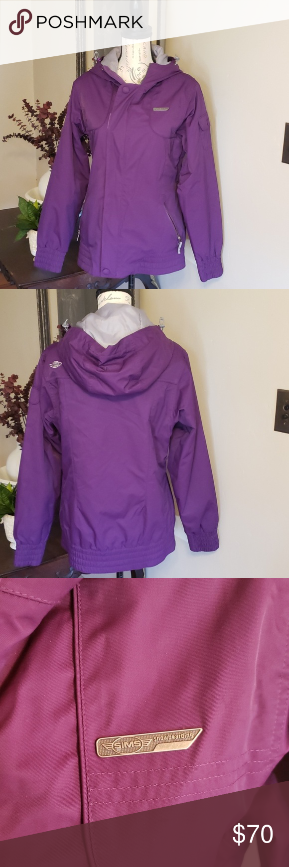 Photo of Sims purple winter snowboarding jacket Sims purple with grey interior winter jac…