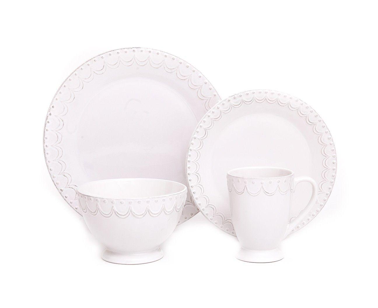 LACE EMBOSSED 16-PIECE DINNERWARE SET - Dinnerware - Dining | Stokes ...