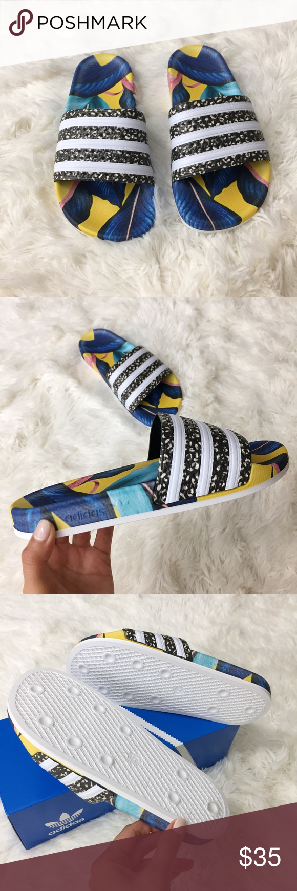 b9e9b495ea5b Adidas Tropical Adilette Slides 🌴 Adidas Adilette Slides •New with Tags  and Box •Size