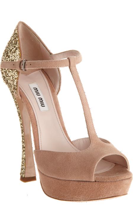 Miu Miu Glitter Heel T-Strap Sandal - Sandals - Barneys.com