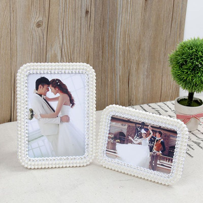 6inches European Style Pearl Resin Craft Photo Frame Jewelry Wedding