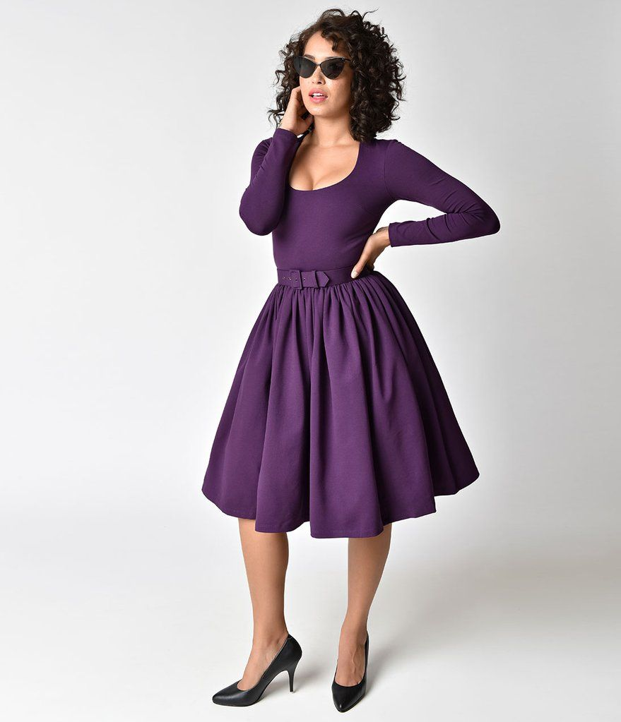 a6e195d6cd3b Vixen by Micheline Pitt Vintage Purple Long Sleeve Troublemaker Swing Dress